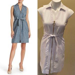 Sharagano sleeveless zip front dress